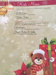 St. Nick's Kid's Menu