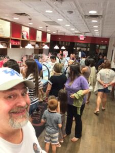 A busy bakery! Carlo's Bake Shop in Hoboken at 9:15 PM