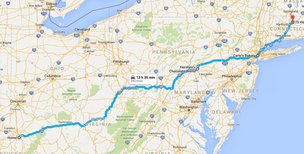 Our Route to Connecticut from Lexington (via Hershey World and Carlos Bake Shop)