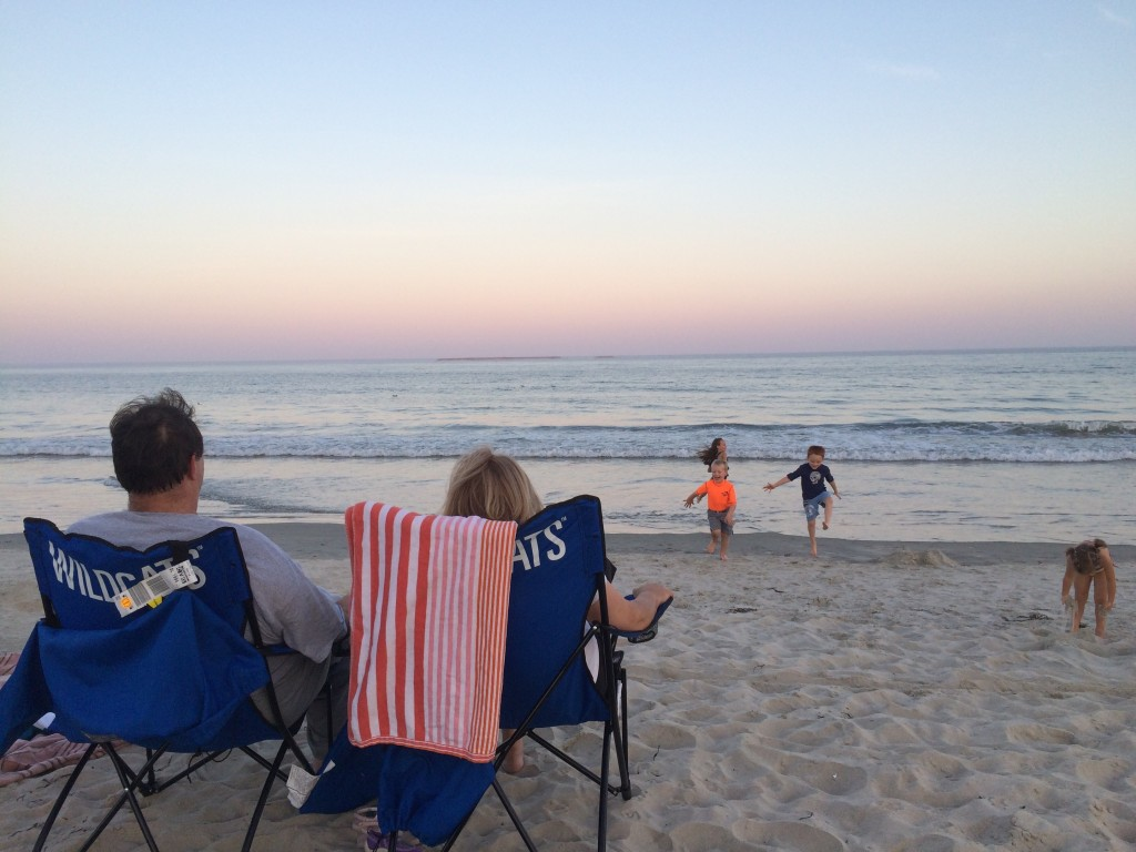 Watching grandkidz play on Atlantic coast at Old Orchard Beach in Maine