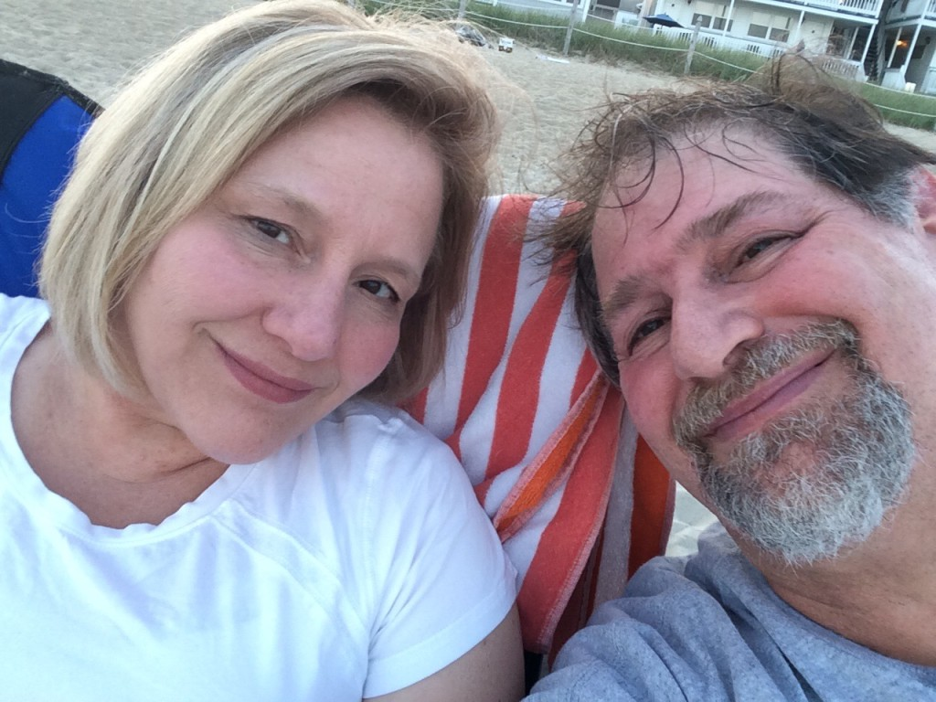 Julianne and I enjoying sunset on the beach at Old Orchard Beach, ME