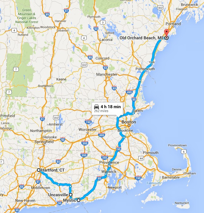 Map of Connecticut to Maine