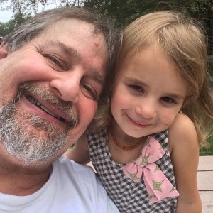 Hanging with granddaughter Lyla on a break on the return trip home to Kentucky