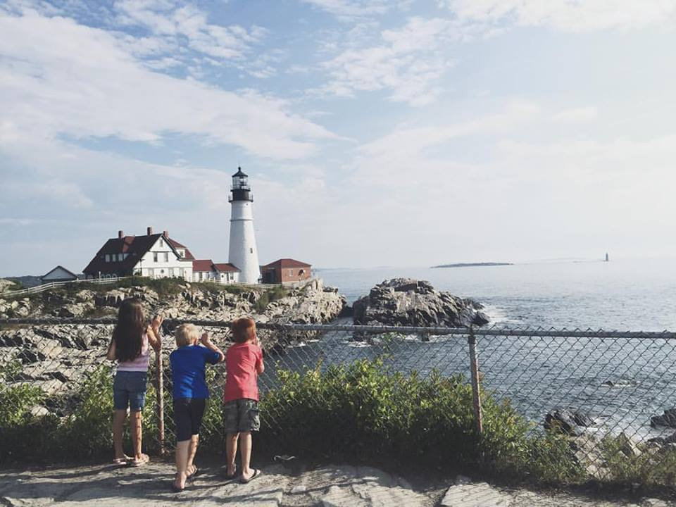 Grandkidz look out at the Portland Light House