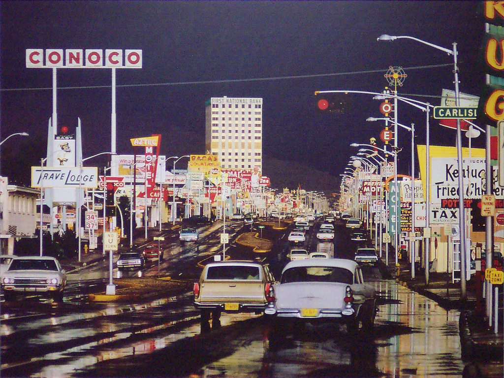 Albuquerque as I knew it in the 1960s (Really!!) Official caption: Traffic in the streets of Albuquerque, New Mexico after a heavy downpour. Original Publication: Colour Photography book. (Photo by Ernst Haas/Getty Images )