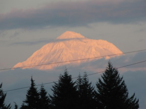 Sunset on the peak of Mt. Hood as seen from Boring, OR in 2012