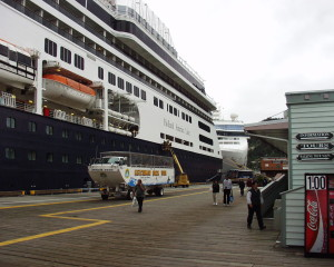 "Our Cruise Ship ""Amsterdam"" towers over the small town of Ketchikan, Alaska in 2004"