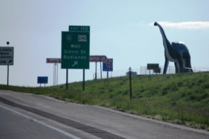 Driving into Wall, SD you can see the 80 foot tall Dino from the Interstate