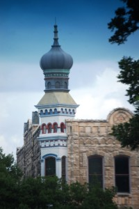 The distinctive Onion Dome on the San Gabriel Masonic Lodge Building in Georgetown, TX