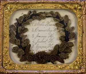 A small wreath made of hair as can be seen at Leila's Hair Museum in Indeendence
