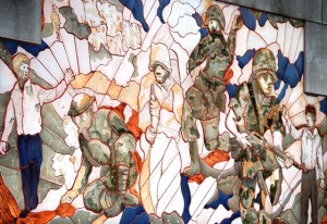 A portion of one of a series of ceramic murals on the Clay County Public Services Building in Independence, MO