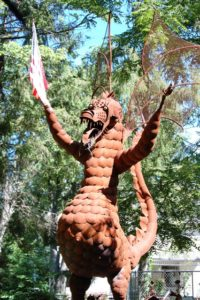 20 foot tall Jurustic Park dragon in Marshfield, WI