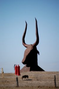Sixty foot tall bull head can be seen for miles.