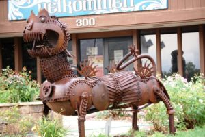 A giant troll sculpture greets you at the Mount Horeb Welcome Center. Created by Wally Keller
