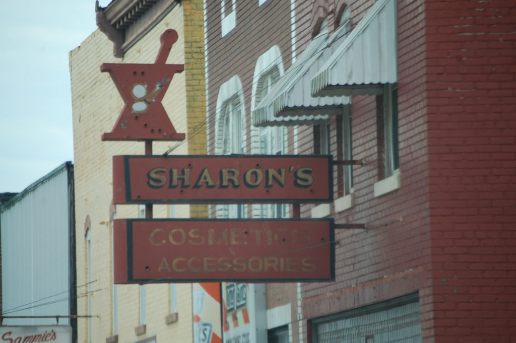 An Old Pharmacy sign in downtown Ravenna. I love old signs like this.