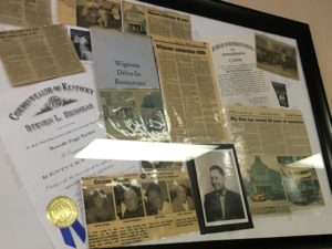 The clippings board at the Wigwam contains old news articles from years long gone