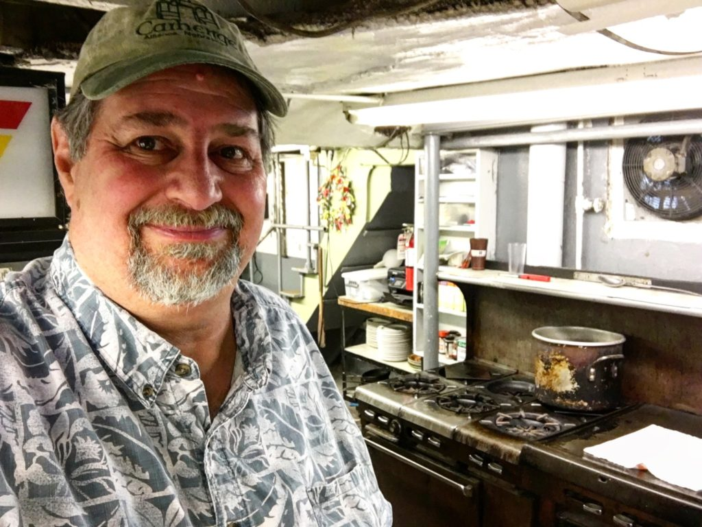 Sumoflam in Guarino's kitchen. The oven behind me has been used for over 90 years.