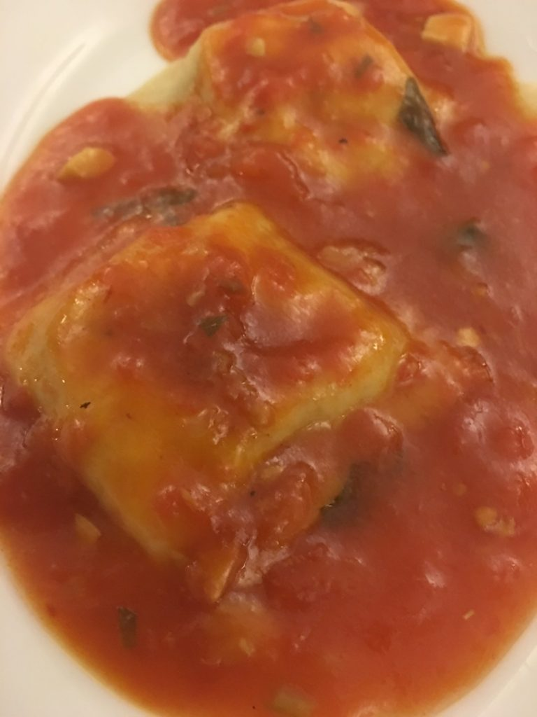 Home made ravioli with a homemade sauce that was breathtaking