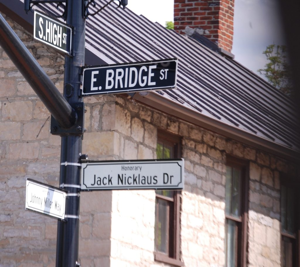 The honorary corner of Jack Nicklaus and Johnny Miller (on East Bridge St. in Dublin, OH)