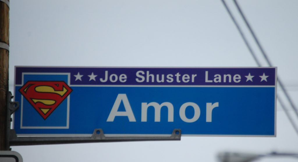 Amor St. has become Joe Shuster Lane. It too is on Parkwood (known also as Lois Lane)