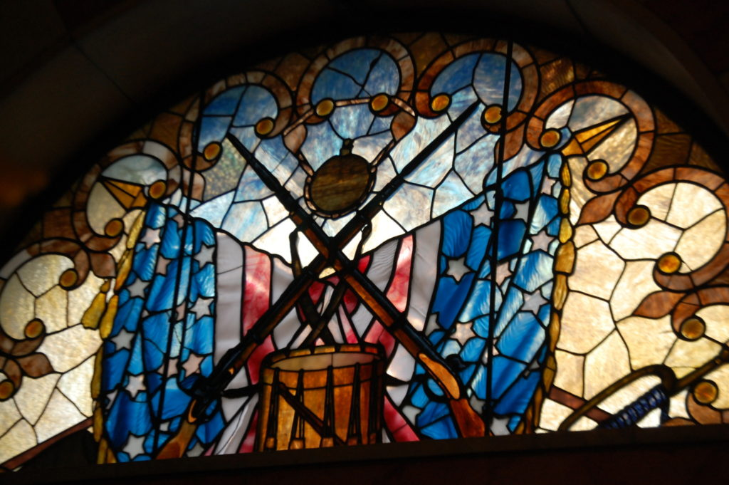 One of a number of Stained Glass Windows as seen from inside the monument