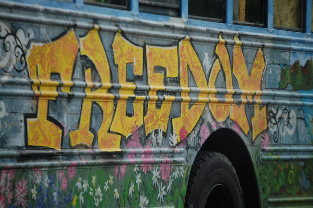 A nicely painted bus in the Hessler Road area of Cleveland