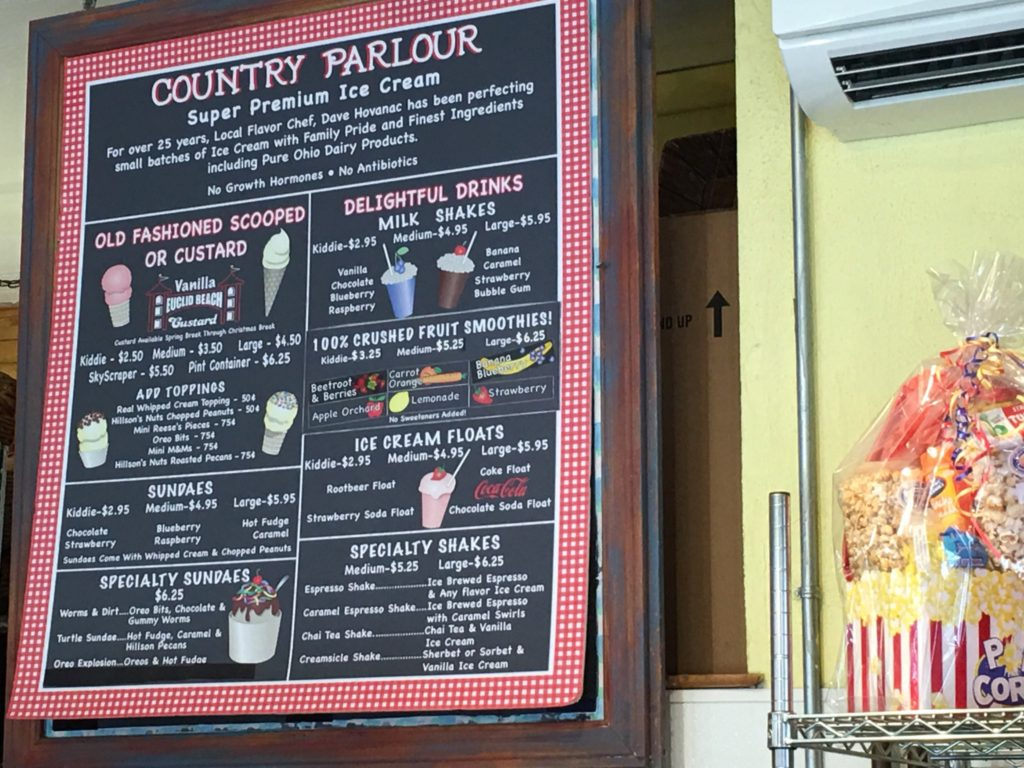 Ice Cream Offerings at Chagrin Falls