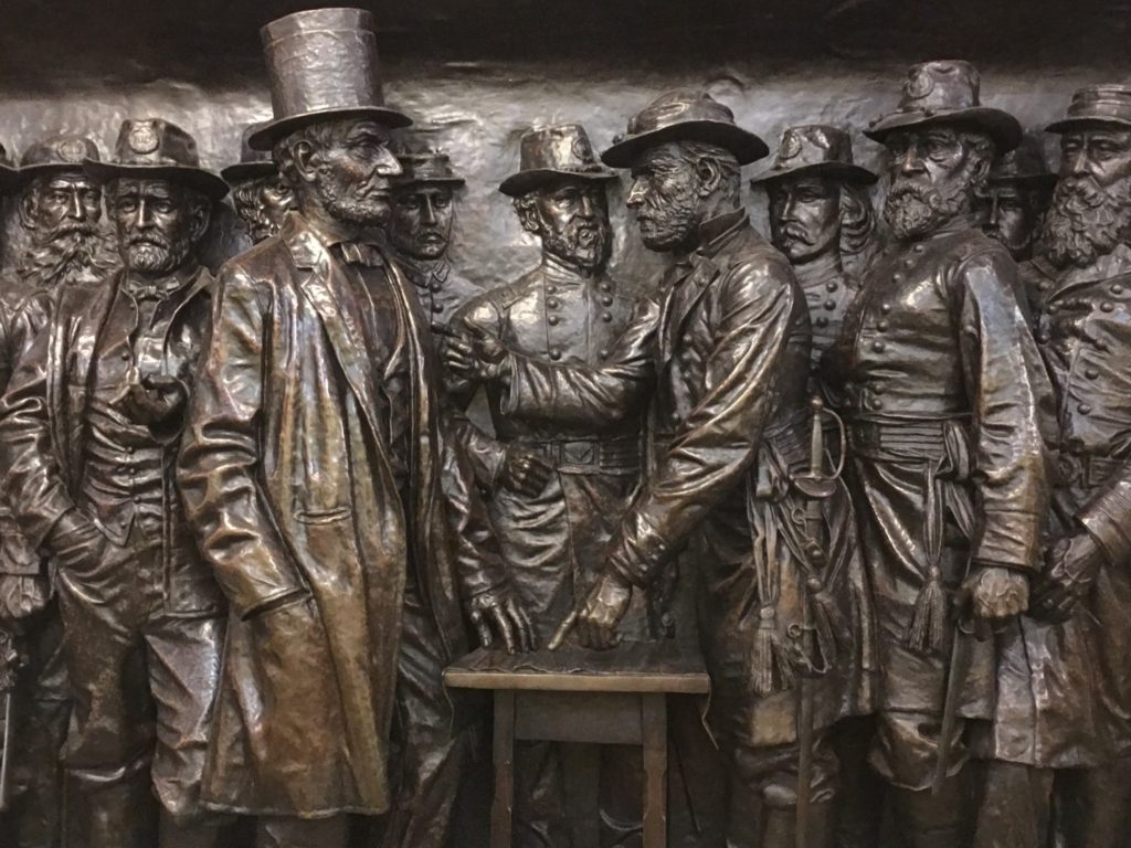 Lincoln Bronze Relief representing the end of the Civil War.
