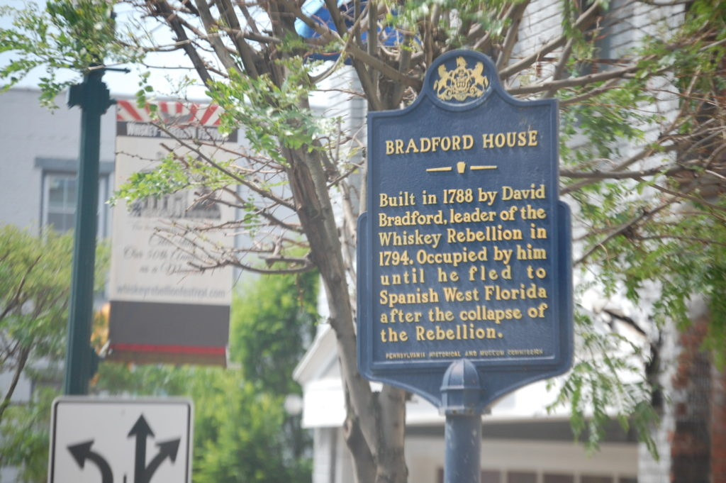 The old Bradford House historic marker. It was the home of David Bradford, leader of the Whiskey Insurrection in 1794