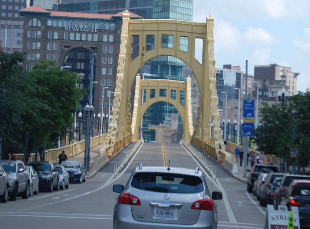 Crossing the Andy Warhol Bridge in Pittsburgh