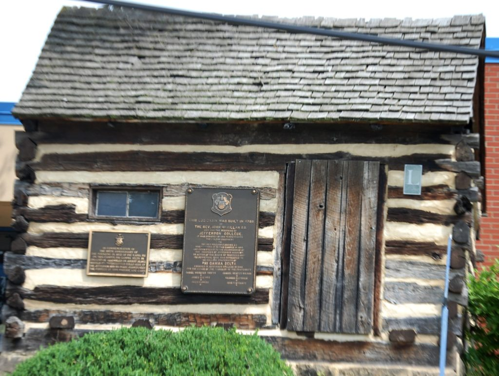 John McMillan's Log School. This log house was a frontier Latin school in the 1780s and was later moved to Jefferson College in 1895 as a symbol of Canonsburg's educational tradition.