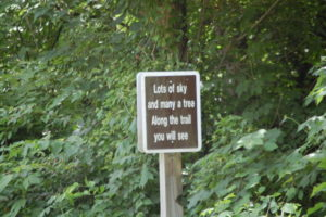 One of the fun signs along the Tri-County Triangle Trail