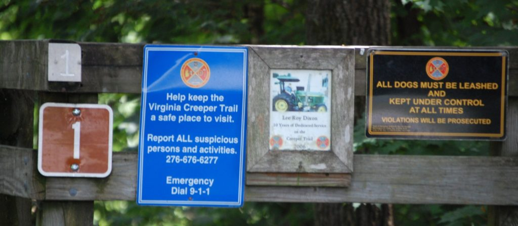 Signage at the Abingdon Trailhead - Bridge Number 1