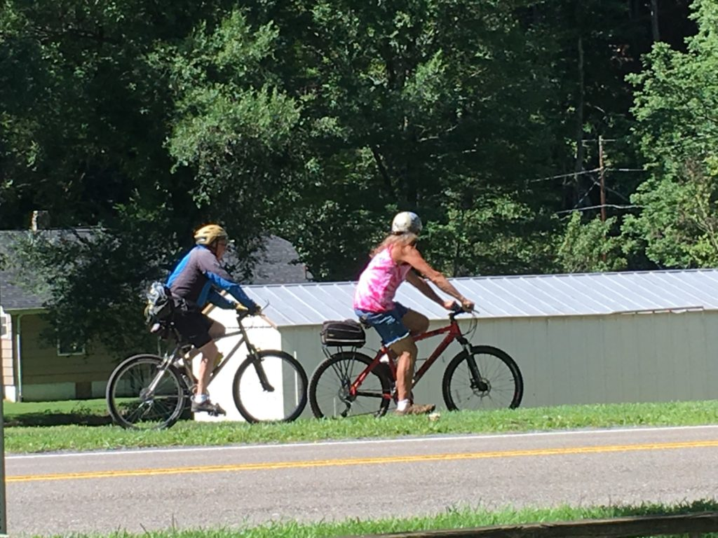There is a constant stream of bikers on the Creeper Trail