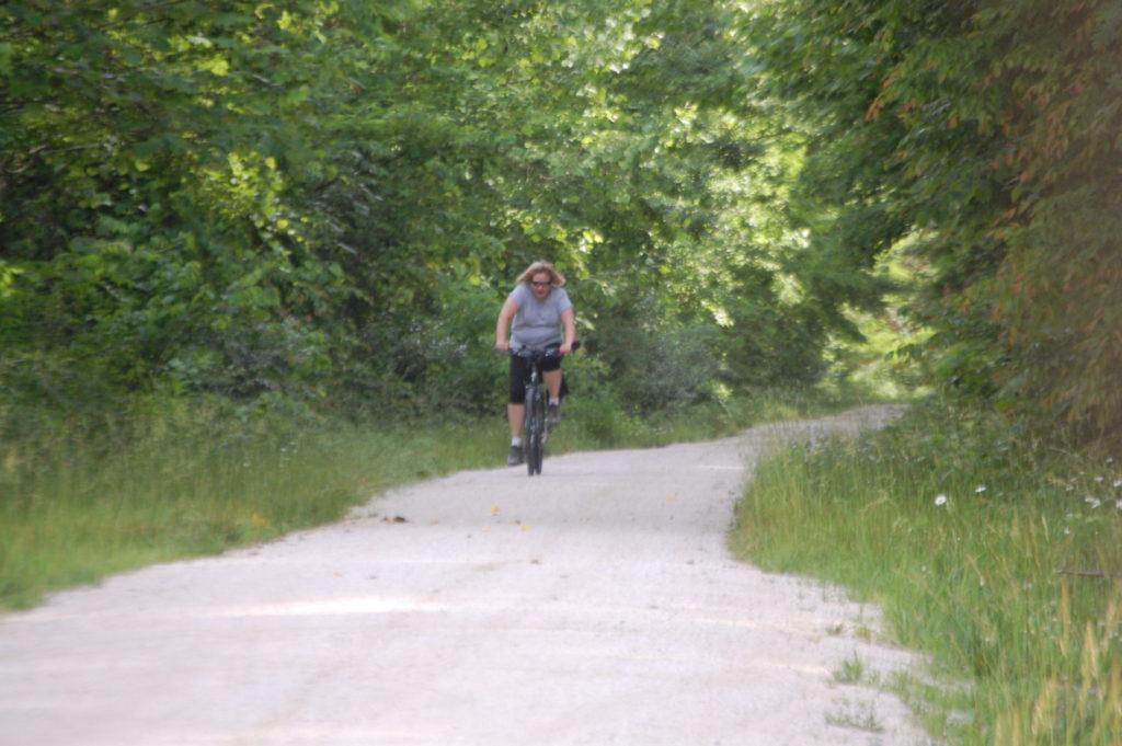 Julianne makes her way down the Dawkins Trail near Ivyton, KY