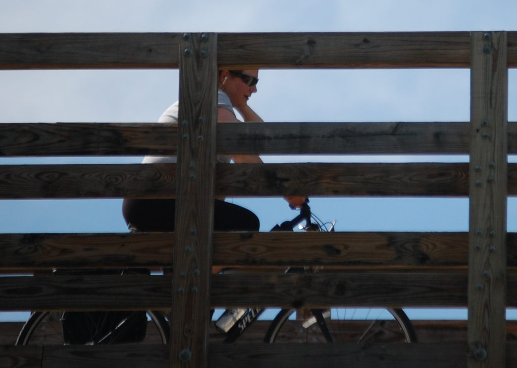 Julianne crosses over the road on a trestle bridge near Riceville, KY