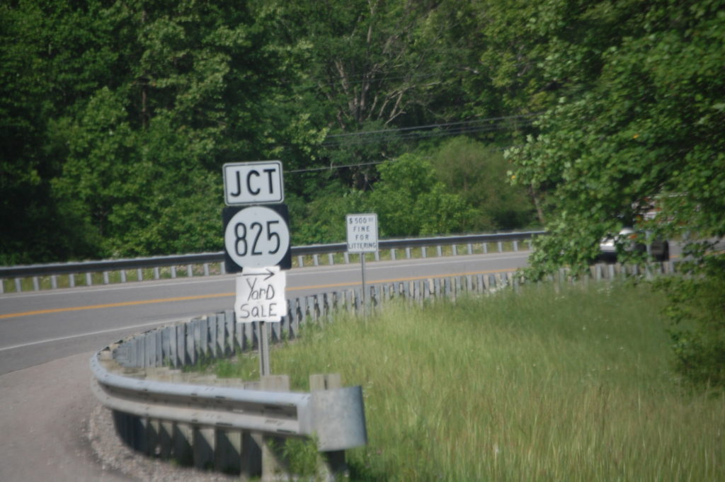 Junction with KY 825 near Swamp Branch Road