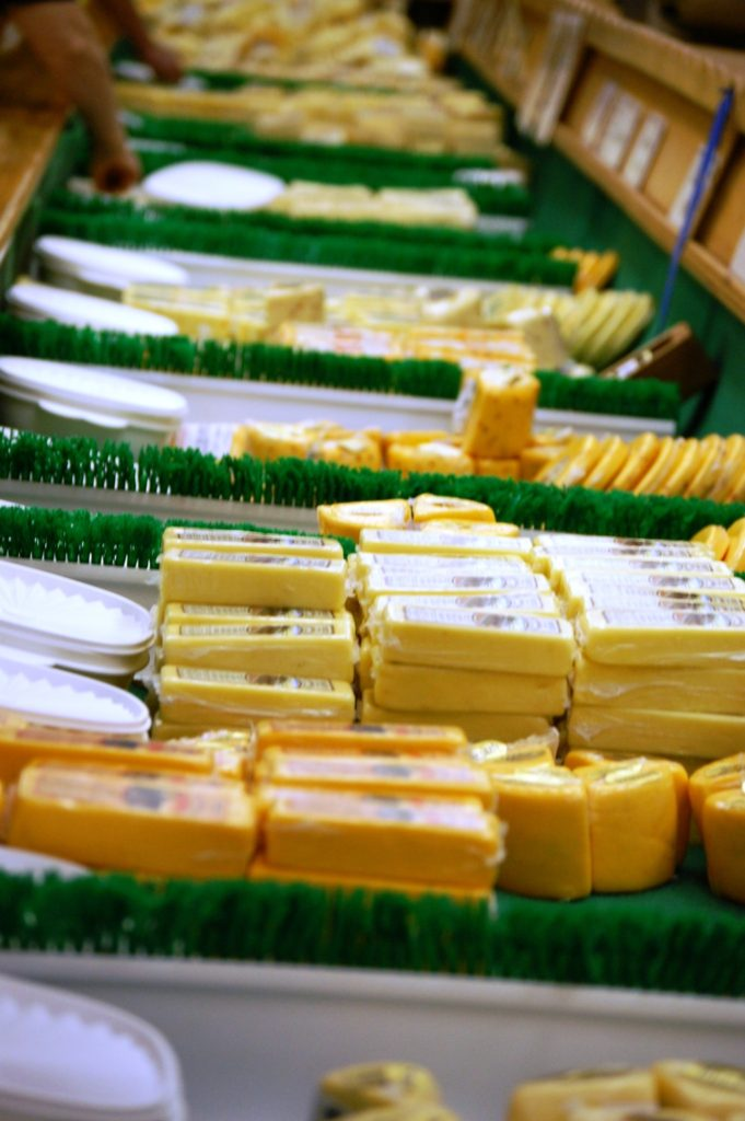 All kinds of cheeses can be found in Heini's and they'll gladly cut the cheese for you.