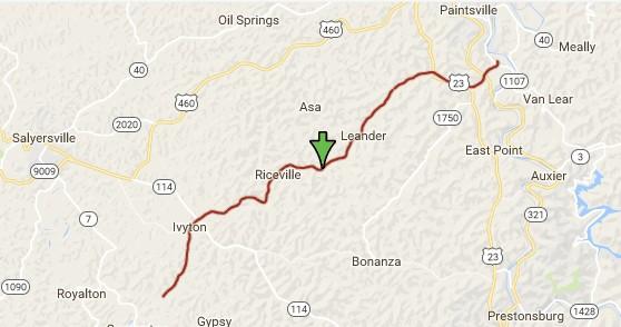 Map of the Dawkins Line Bike Trail