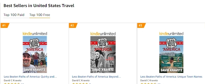 All Three Less Beaten Paths Books hit TOP 3 in US Travel Chart today